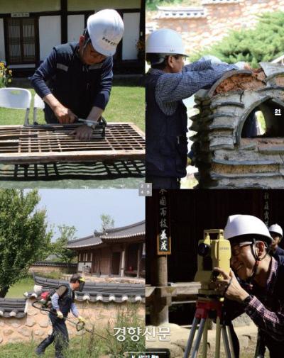 올해로 10주년을 맞이한 문화재돌봄사업의 다양한 활동들. 경미한 문화재에 대해서는 즉석에서 수리해주고 있다. |한국문화재돌봄협회 제공