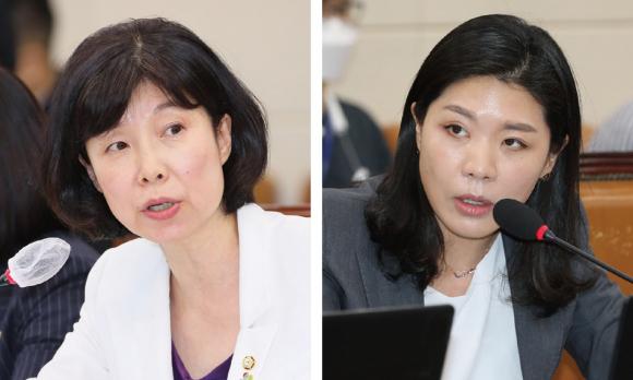 양정숙 의원(왼쪽)과 신현영 의원 ⓒ시사저널 박은숙·연합뉴스