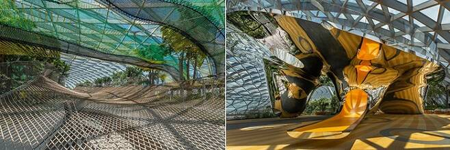 주얼 5층의 캐노피 공원에 있는 액티비티 시설. 왼쪽은 정원의 나무들 사이를 다닐 수 있는 `스카이 네츠`. 오른쪽은 `디스커버리 슬라이드`다. /사진 제공=창이국제공항