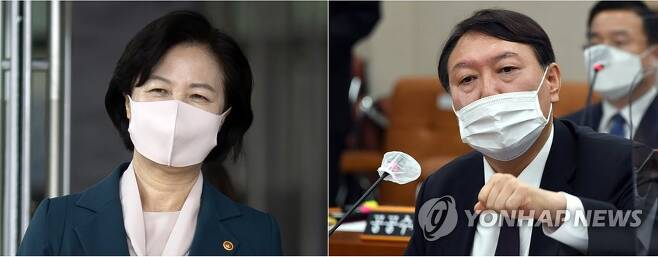 추미애 법무부 장관과 윤석열 검찰총장 [연합뉴스 자료사진]