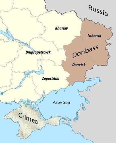 우크라이나 돈바스 지역 표시 지도(오른쪽 고동색 색칠한 부분) [위키피디아 자료사진]