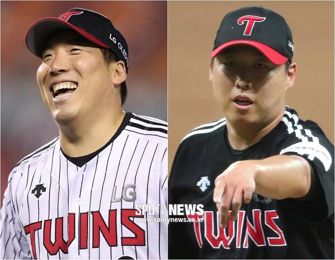 ▲ 김현수(왼쪽)와 차우찬 ⓒ SPOTV NEWS