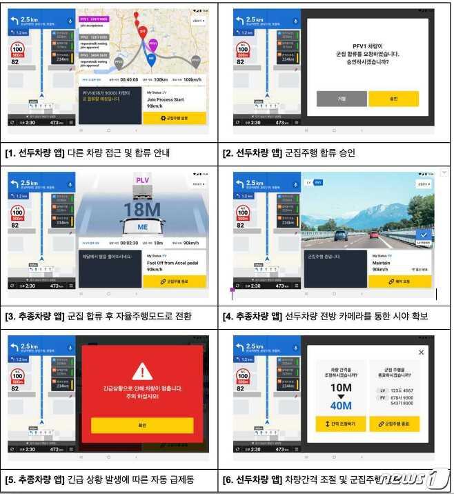 군집주행 기사용 애플리케이션 화면 (카카오모빌리티 제공) © 뉴스1