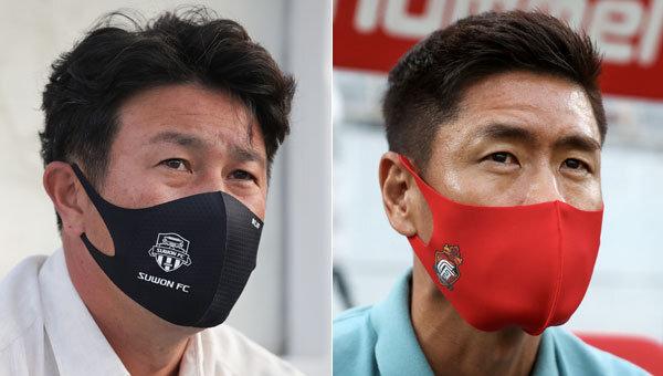 수원FC 김도균 감독(왼쪽), 경남FC 설기현 감독. 사진제공 | 한국프로축구연맹