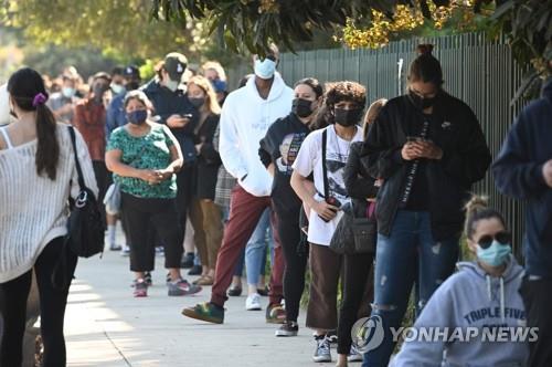 미 샌페르난도 코로나19 검사소 앞에 줄 선 주민들 [AFP=연합뉴스 자료사진]