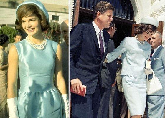 존 F.케네디의 취임식 등 중요한 날 '스카이 블루(하늘색)' 색의 드레스나 투피스를 즐겨 입던 영부인 재클린 케네디.