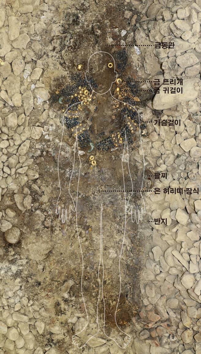 경주 쪽샘지구 신라고분 44호 돌무지덧널무덤에서 발굴된 무덤 주인공 착장 장신구 세트 모습.(문화재청 제공)© 뉴스1