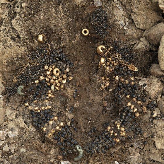 신라 왕족과 귀족 고분이 밀집한 경북 경주 쪽샘지구의 44호 돌무지덧널무덤(적석목곽묘)에서 신라 왕족 여성과 함께 묻힌 것으로 추정되는 유물이 대량으로 출토됐다고 국립경주문화재연구소가 7일 밝혔다.   사진은 출토된 금드리개, 금귀걸이, 가슴걸이. [사진 국립경주문화재연구소]
