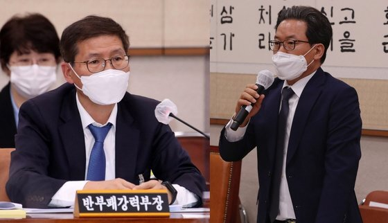 신성식 대검 반부패 강력부장(왼쪽)과 심재철 법무부 검찰국장. 연합뉴스