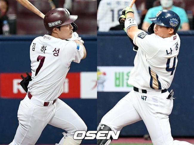 [사진] 키움 히어로즈 김하성(왼쪽), NC 다이노스 나성범 / OSEN DB