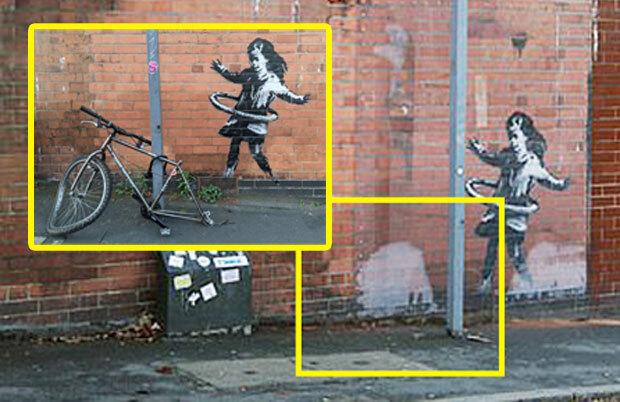 지난달에는 영국 노팅엄 주택가에 새겨진 '훌라후프 소녀' 훼손 논란이 있었다. 작품의 일부로 벽화 앞에 설치된 바퀴 빠진 자전거가 사라져 도난당한 것 아니냐는 추측이 제기됐다. 다행히 건물주가 안전을 위해 자전거를 철거한 사실이 밝혀지면서 도난 논란은 일단락됐다.