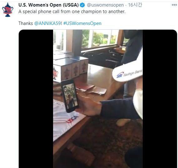 김아림이 15일 US여자오픈 우승 뒤 소렌스탐의 축하 전화를 받았다. ⓒ USOPEN