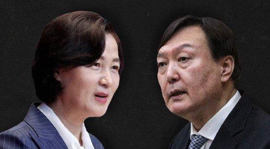 추미애(왼쪽) 법무부 장관과 윤석열 검찰총장. [뉴스1]
