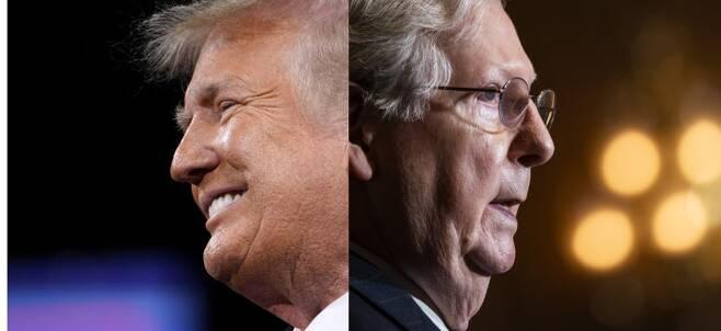 도널드 트럼프 미국 대통령(왼쪽)과 미치 매코널 공화당 원내대표. AP