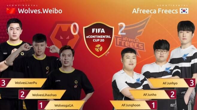 아프리카 프릭스가 중국의 울브즈 웨이보를 2대0으로 제압했다(사진=중계 방송 캡처).