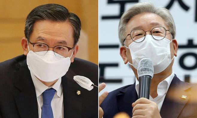 (왼쪽부터) 더불어민주당 정성호 의원, 이재명 경기지사. 연합뉴스