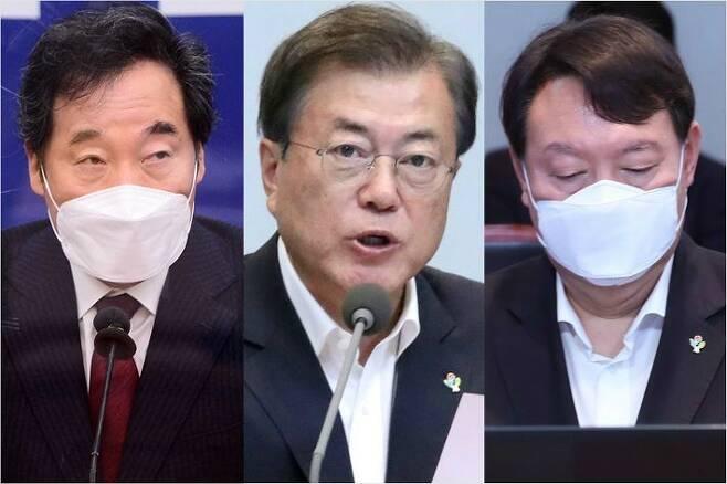 왼쪽부터, 더불어민주당 이낙연 대표, 문재인 대통령, 윤석열 검찰총장(사진=윤창원 기자/연합뉴스)