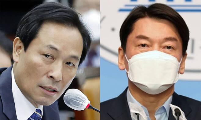 우상호 더불어민주당 의원(왼쪽). 안철수 국민의당 대표(오른쪽) 뉴시스_연합뉴스