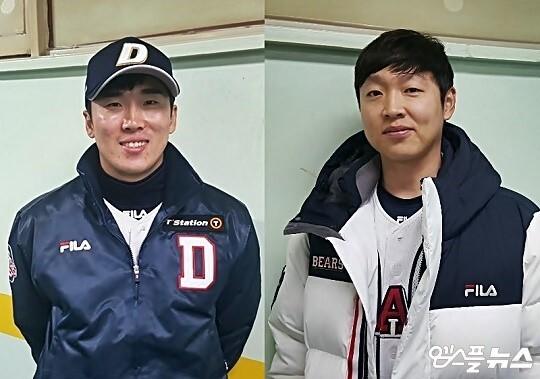 두산은 파격적인 장기 계약 제시로 내부 FA인 허경민(왼쪽)과 정수빈(오른쪽)을 잡았다(사진=엠스플뉴스)