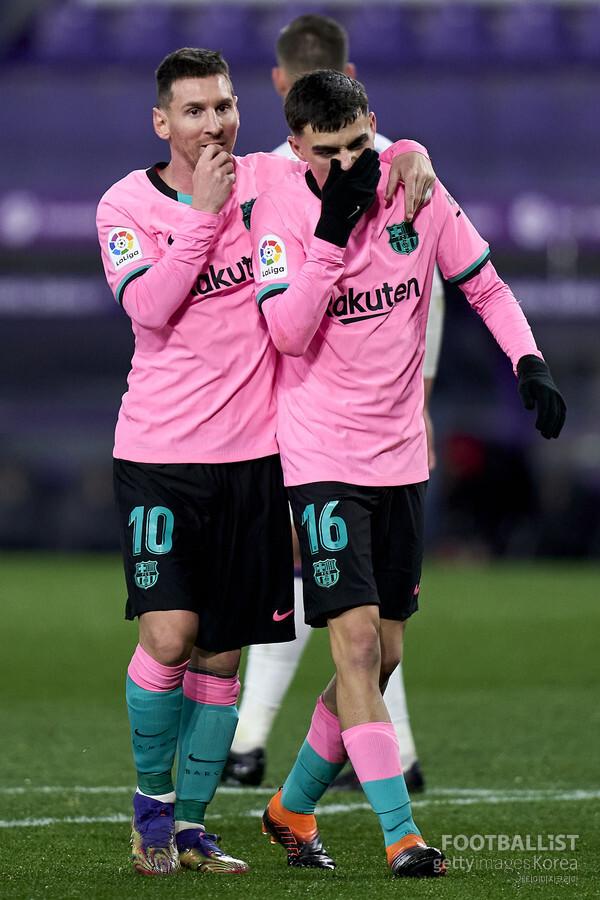 리오넬 메시, 페드리(왼쪽부터, 바르셀로나). 게티이미지코리아