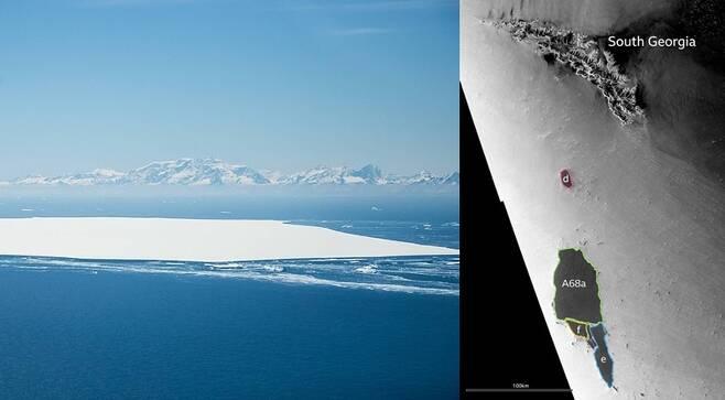 영국공군이 촬영한 A-68d 빙산과 그 뒤로 사우스조지아섬이 보인다. 오른쪽은 위성으로 촬영한 모습