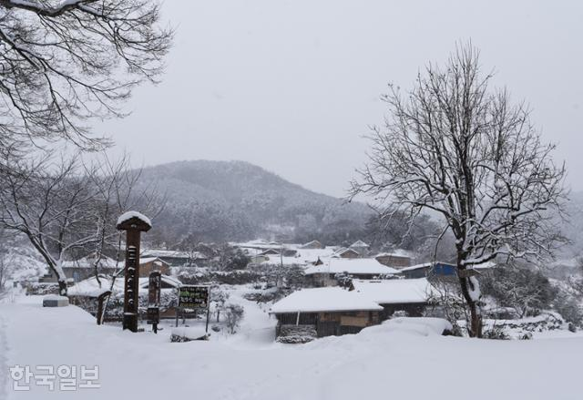 하얗게 눈에 덮인 금곡영화마을. 1950~60년대 산골 분위기를 간직하고 있어 여러 편의 영화를 촬영한 마을이다.