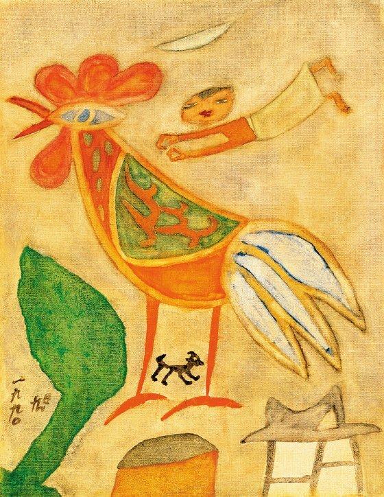 장욱진, 닭과 아이, 1990. [사진 현대화랑]