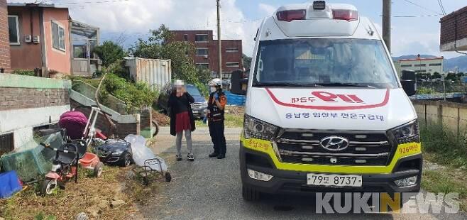 충남형 임산부 전문구급대 활동 모습.