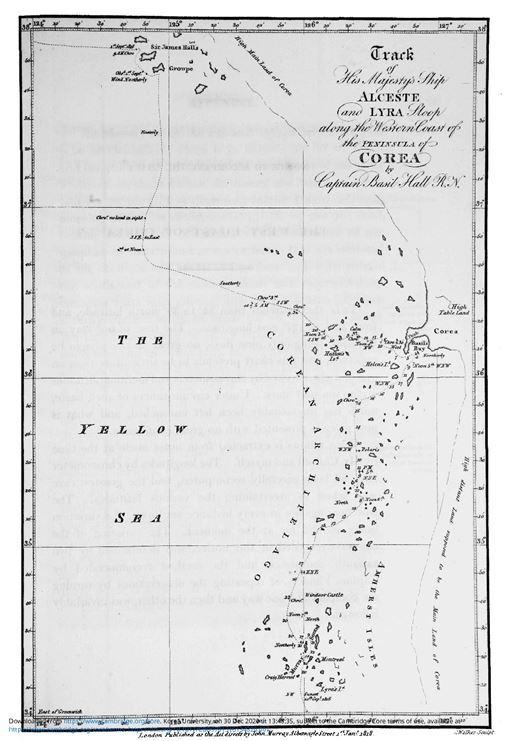 지도 왼쪽 위 'Sir James Halls Groupe'로 표기된 곳이 백령군도다.