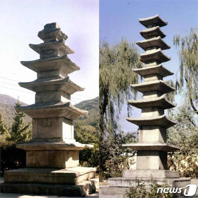 황해남도 해주시 옥계동에 있는 해주5층탑(왼쪽)과 해청동에 있는 해주9층탑(오른쪽). 모두 고려시기 석탑이다. (미디어한국학 제공) 2021.01.23.© 뉴스1