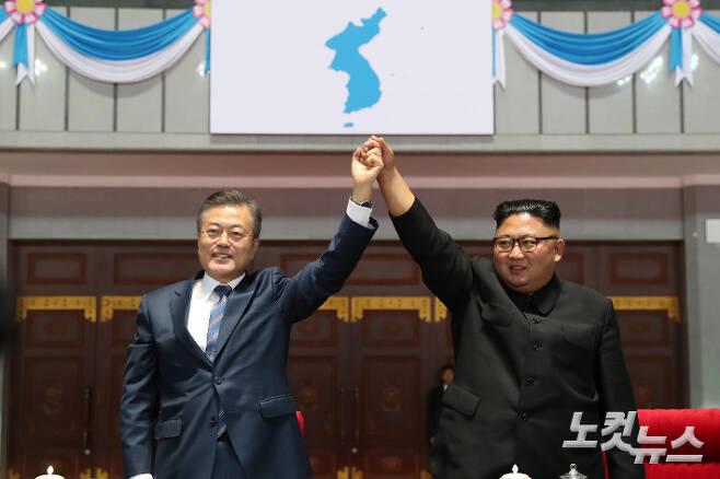 지난 2018년 9월 19일 문재인 대통령과 북한 김정은 국무위원장.  평양사진공동취재단