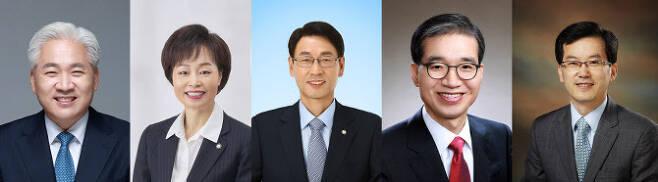 왼쪽부터 기호 순으로 이종린, 조현욱, 황용환, 이종엽, 박종흔 변호사.(사진=대한변호사협회 선거관리위원회)
