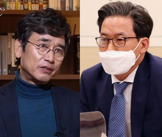 유시민 노무현재단 이사장(왼쪽)과 심재철 법무부 검찰국장/유튜브, 조선DB