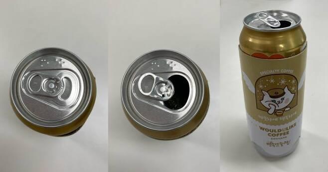 핫 음료를 담은 캔 음료를 밀봉한 모습(왼쪽부터), 음료 입구를 오픈한 모습. (사진=김세은 기자)