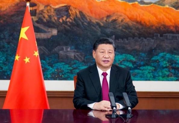 세계 주요국 정상들이 참석한 다보스 어젠다에서 화상 연설 중인 시진핑 중국 국가 주석. Global Times