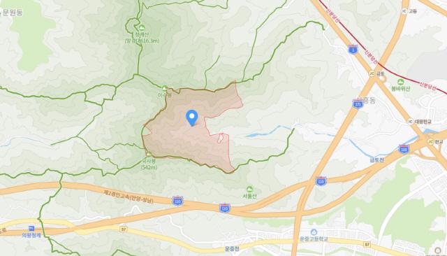 지도에 표시한 경기도 성남시 금토동 산73번지./자료=네이버지도
