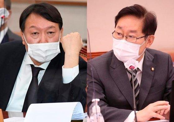 윤석열 검찰총장과 박범계 법무부 장관. [연합뉴스·뉴시스]