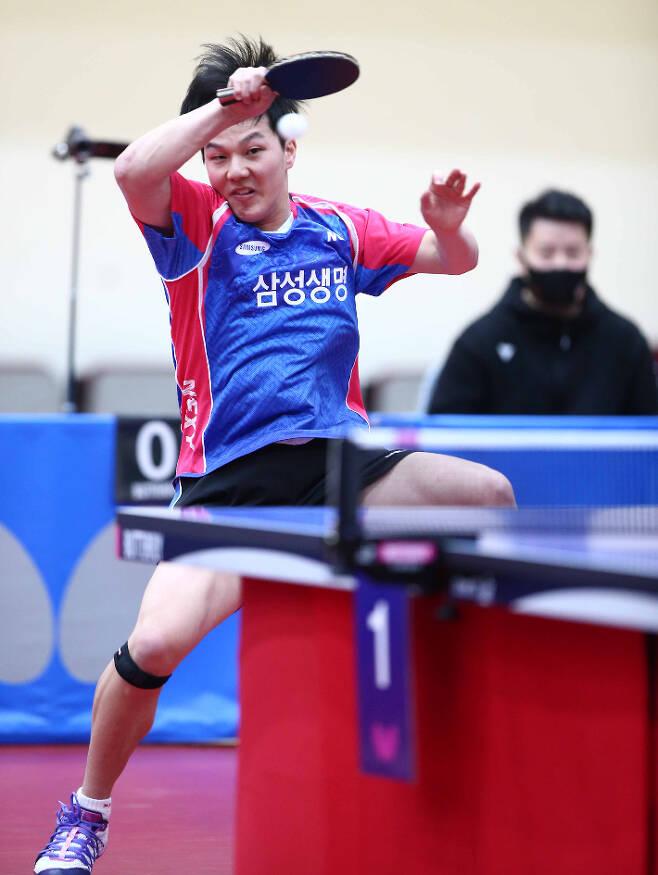 도쿄올림픽 국가대표 선발전에서 남자부 최종 2위에 오르고도 탈락한 안재현. 사진=월간 탁구 안성호 기자