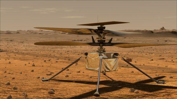 화성 표면에 있는 헬리콥터 인저뉴어티 상상도. 지구 공기 밀도의 1%에 불과한 화성에서 양력을 얻기 위해 날개 회전속도를 지구의 10배로 높여야 한다./NASA