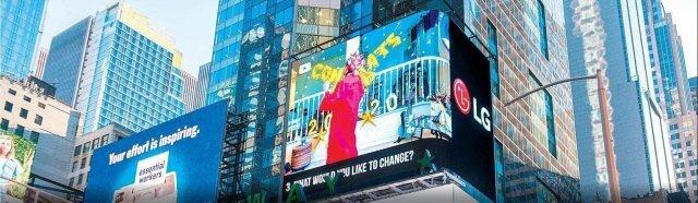 이달 초 LG전자가 올레드 TV 화질을 홍보하기 위해 미국 뉴욕 타임스스퀘어 전광판에 상영한 영화'라이프 인 어 데이'의 한 장면. LG전자 제공