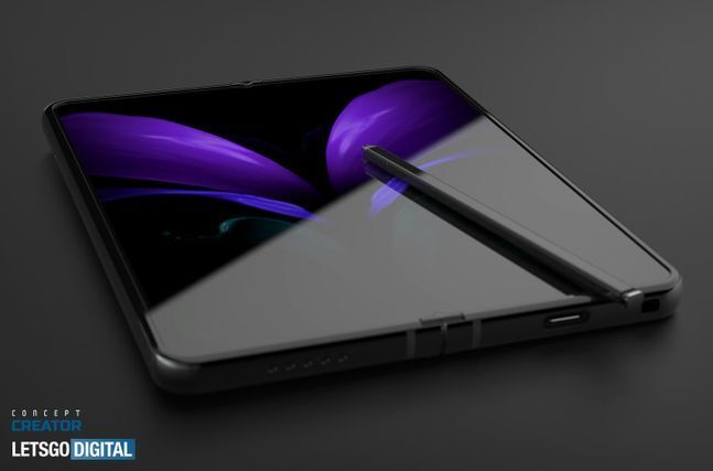 삼성전자 폴더블 스마트폰 '갤럭시Z폴드3'(가칭) 예상 렌더링. 레츠고디지털 홈페이지 캡처.