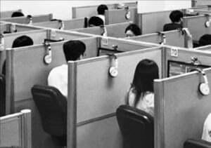 한 대기업 응시생들이 YBM의 코딩 시험 '코스프로(COS Pro)'를 보고 있다.  YBM 제공