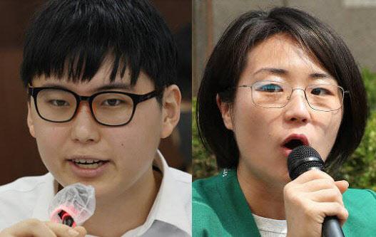 (왼쪽부터) 변희수 전 하사, 신지예 한국여성정치네트워크 대표 (사진=연합뉴스)
