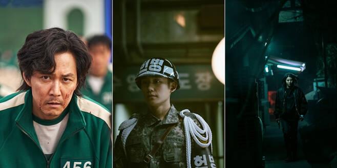 넷플릭스가 2021년 선보일 라인업 중 일부 스틸컷. (사진 왼쪽부터) '오징어 게임' 'D.P.' '마이네임'. 넷플릭스 제공
