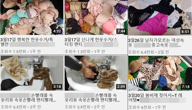 29일 유튜브에는 수거한 중고 의류에 있던 여성 속옷을 손빨래한 뒤 다시 판매한다는 내용의 영상이 다수 올라와 있다./사진=유튜브