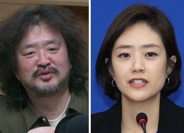 /김어준(왼쪽) 고민정(오른쪽)