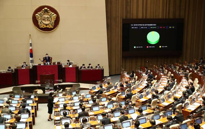 한국토지주택공사(LH) 직원들의 신도시 예정지 투기 의혹으로 비판 여론이 들끓자, 국회는 2021년 3월24일 본회의에서 한국토지주택공사법 개정안을 가결했다. 공동취재사진