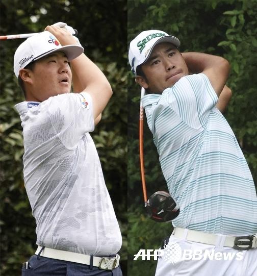 2021년 미국프로골프(PGA) 투어 메이저대회 제85회 마스터스 토너먼트에 출전한 임성재 프로와 우승 경쟁에 뛰어든 마쓰야마 히데키. 사진제공=ⓒAFPBBNews = News1