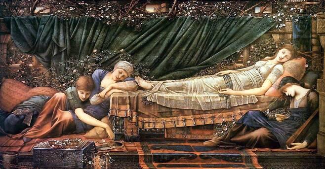 에드워드 번존스, '장미의 그늘', 1885~1890년, 캔버스에 유채, 125x231cm, 영국 옥스퍼드셔 버스콧파크 소장.