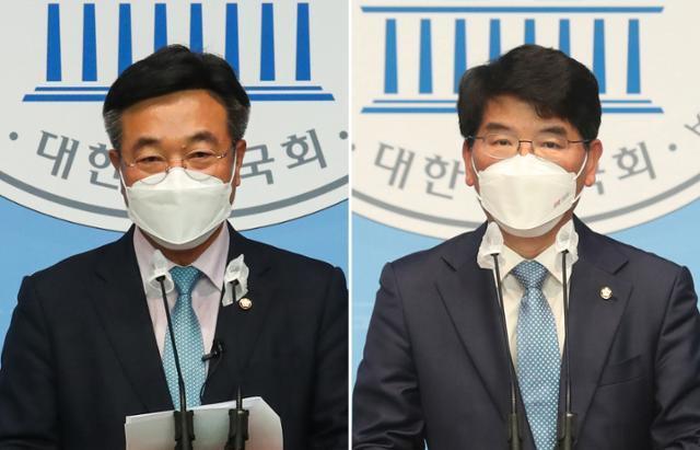 더불어민주당 원내대표 선거에 출마한 윤호중(왼쪽) 의원과 박완주 의원. 뉴스1